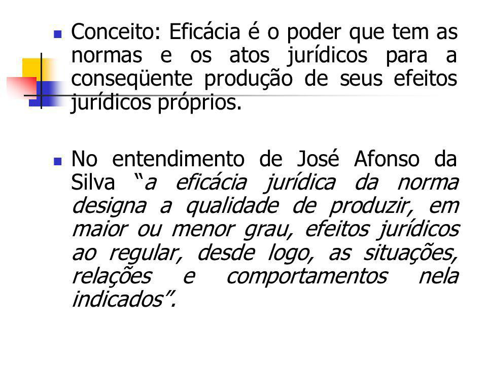 Conceito: Eficácia é o poder que tem as normas e os atos jurídicos para a conseqüente produção de seus efeitos jurídicos próprios.