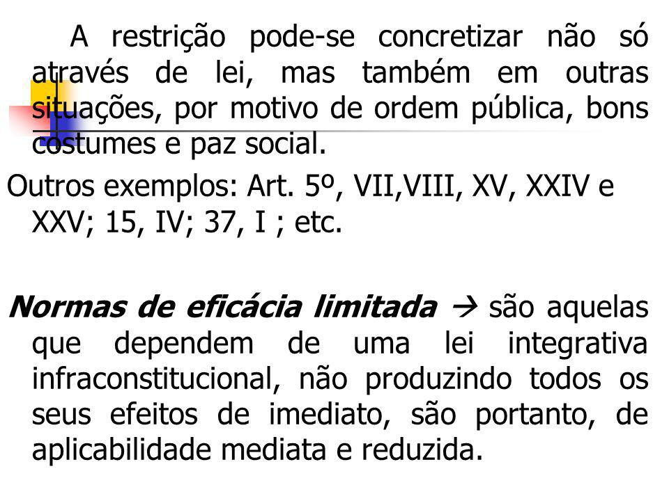 A restrição pode-se concretizar não só através de lei, mas também em outras situações, por motivo de ordem pública, bons costumes e paz social.