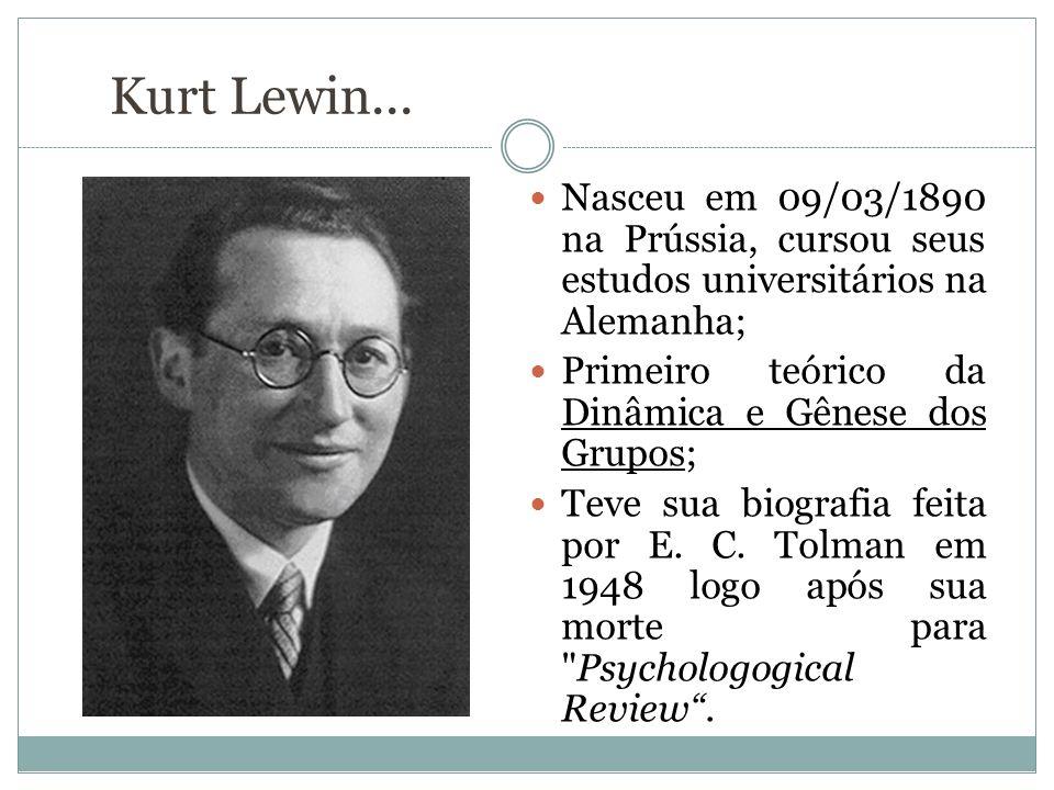 Kurt Lewin... Nasceu em 09/03/1890 na Prússia, cursou seus estudos universitários na Alemanha; Primeiro teórico da Dinâmica e Gênese dos Grupos;