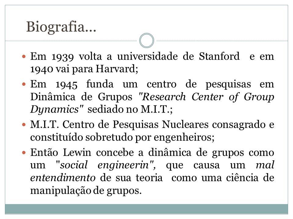 Biografia... Em 1939 volta a universidade de Stanford e em 1940 vai para Harvard;