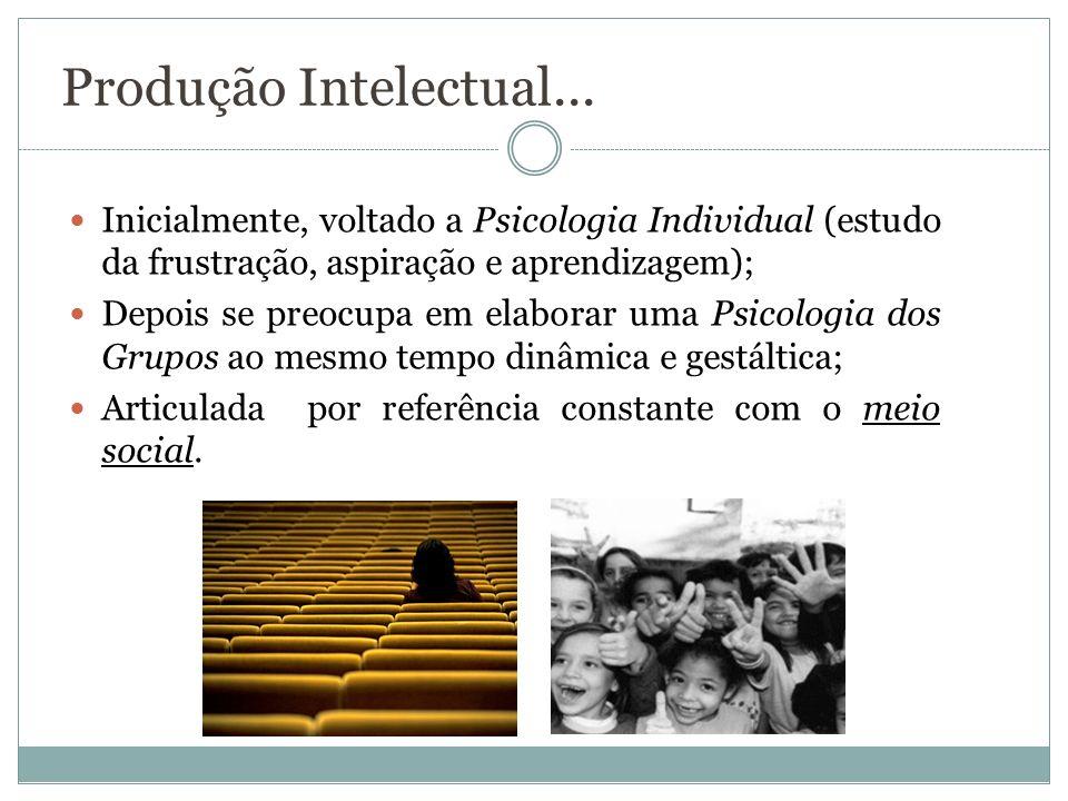 Produção Intelectual... Inicialmente, voltado a Psicologia Individual (estudo da frustração, aspiração e aprendizagem);