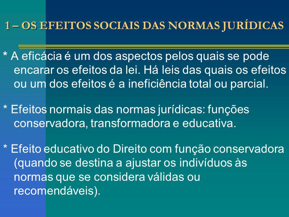 1 – OS EFEITOS SOCIAIS DAS NORMAS JURÍDICAS