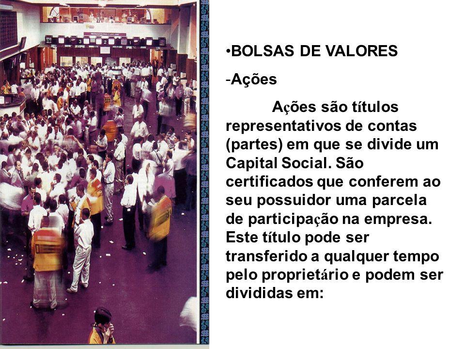 BOLSAS DE VALORES Ações.