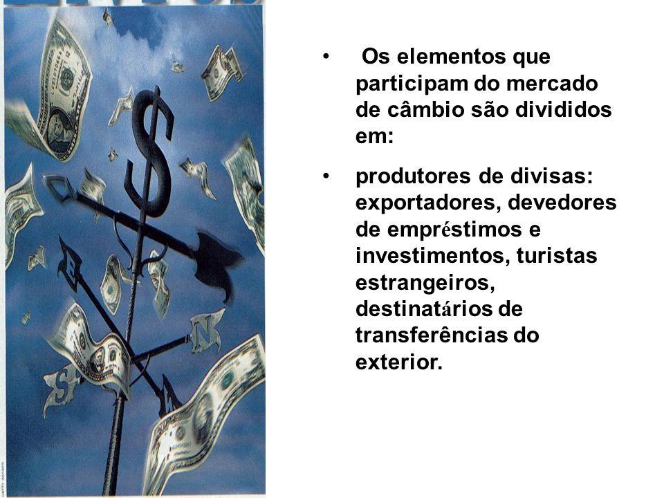 Os elementos que participam do mercado de câmbio são divididos em: