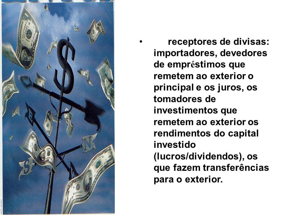 receptores de divisas: importadores, devedores de empréstimos que remetem ao exterior o principal e os juros, os tomadores de investimentos que remetem ao exterior os rendimentos do capital investido (lucros/dividendos), os que fazem transferências para o exterior.