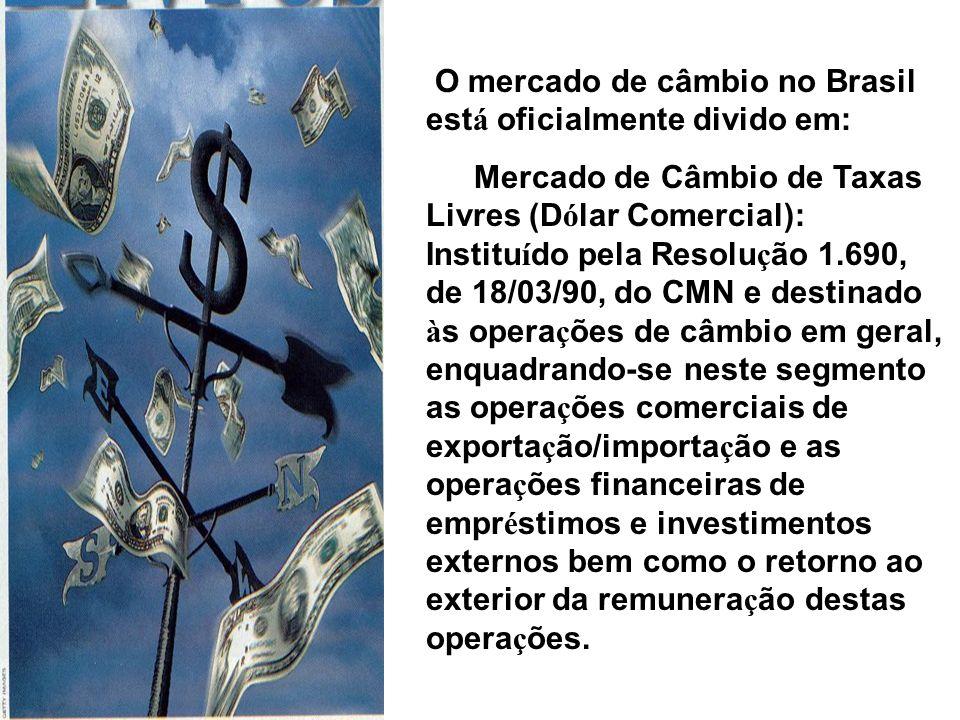 O mercado de câmbio no Brasil está oficialmente divido em: