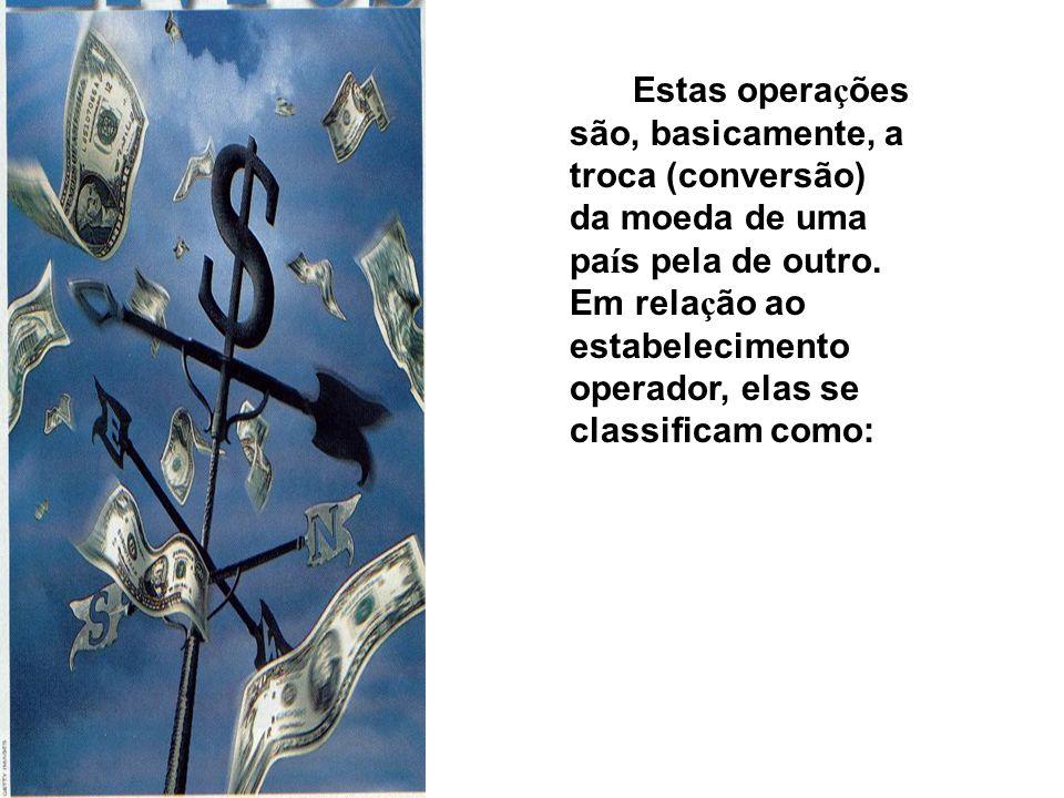 Estas operações são, basicamente, a troca (conversão) da moeda de uma país pela de outro.