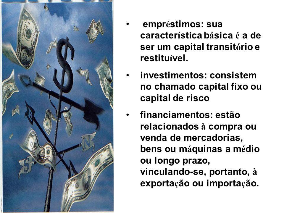 empréstimos: sua característica básica é a de ser um capital transitório e restituível.