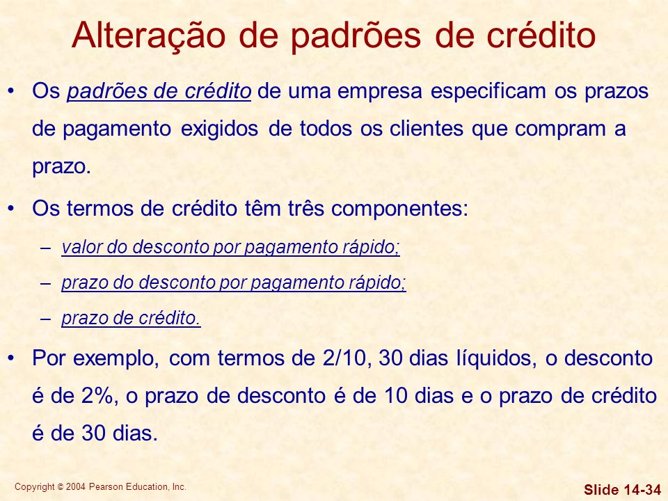 Alteração de padrões de crédito