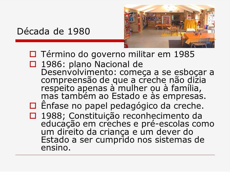 Década de 1980 Término do governo militar em 1985