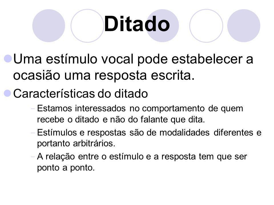 DitadoUma estímulo vocal pode estabelecer a ocasião uma resposta escrita. Características do ditado.