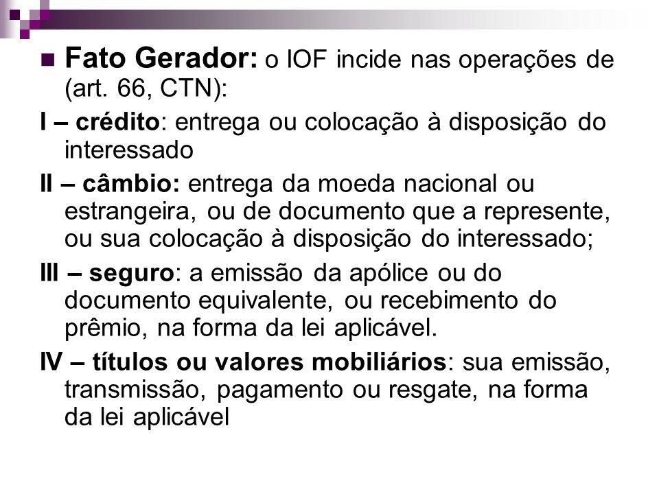 Fato Gerador: o IOF incide nas operações de (art. 66, CTN):