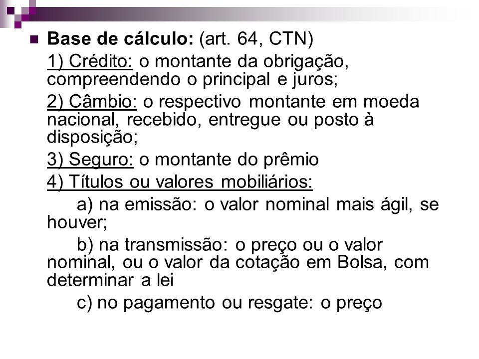 Base de cálculo: (art. 64, CTN)