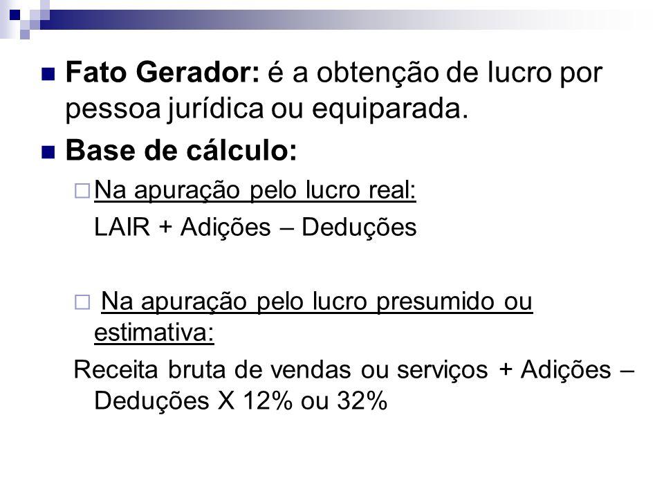 Fato Gerador: é a obtenção de lucro por pessoa jurídica ou equiparada.