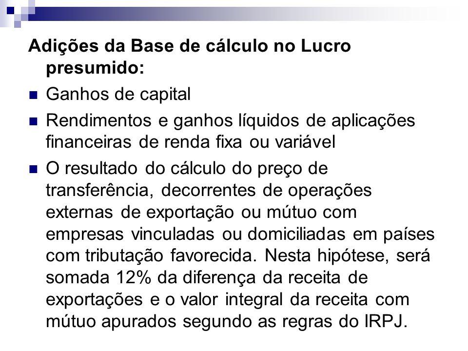 Adições da Base de cálculo no Lucro presumido:
