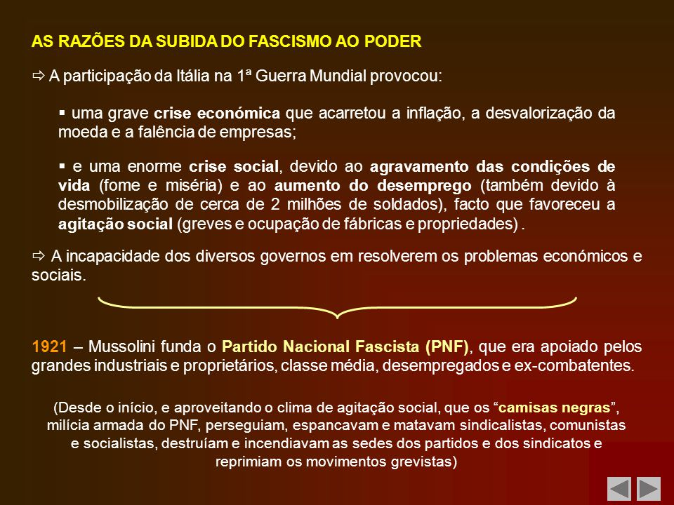 AS RAZÕES DA SUBIDA DO FASCISMO AO PODER