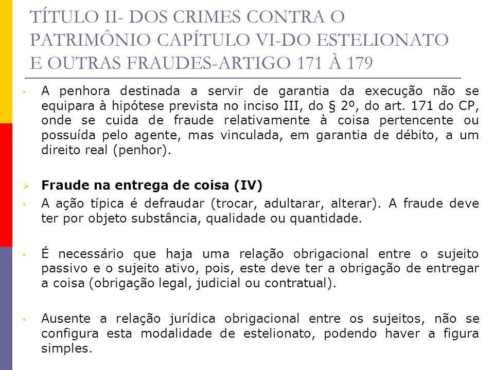TÍTULO II- DOS CRIMES CONTRA O PATRIMÔNIO CAPÍTULO VI-DO ESTELIONATO E OUTRAS FRAUDES-ARTIGO 171 À 179