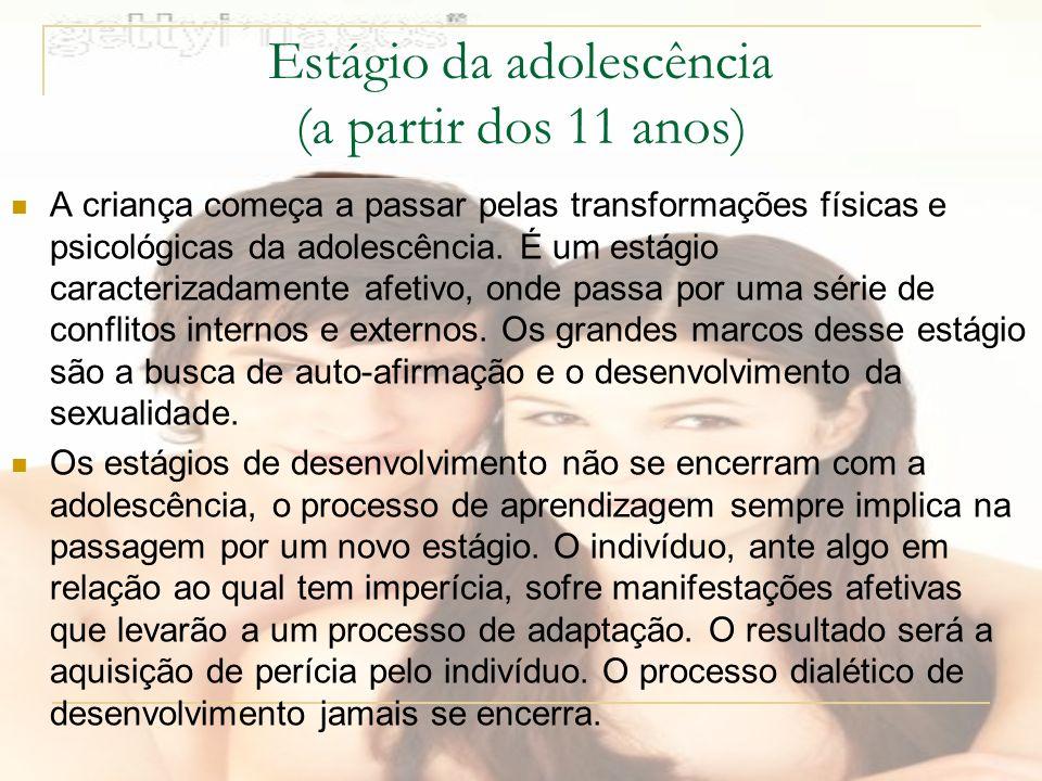 Estágio da adolescência (a partir dos 11 anos)