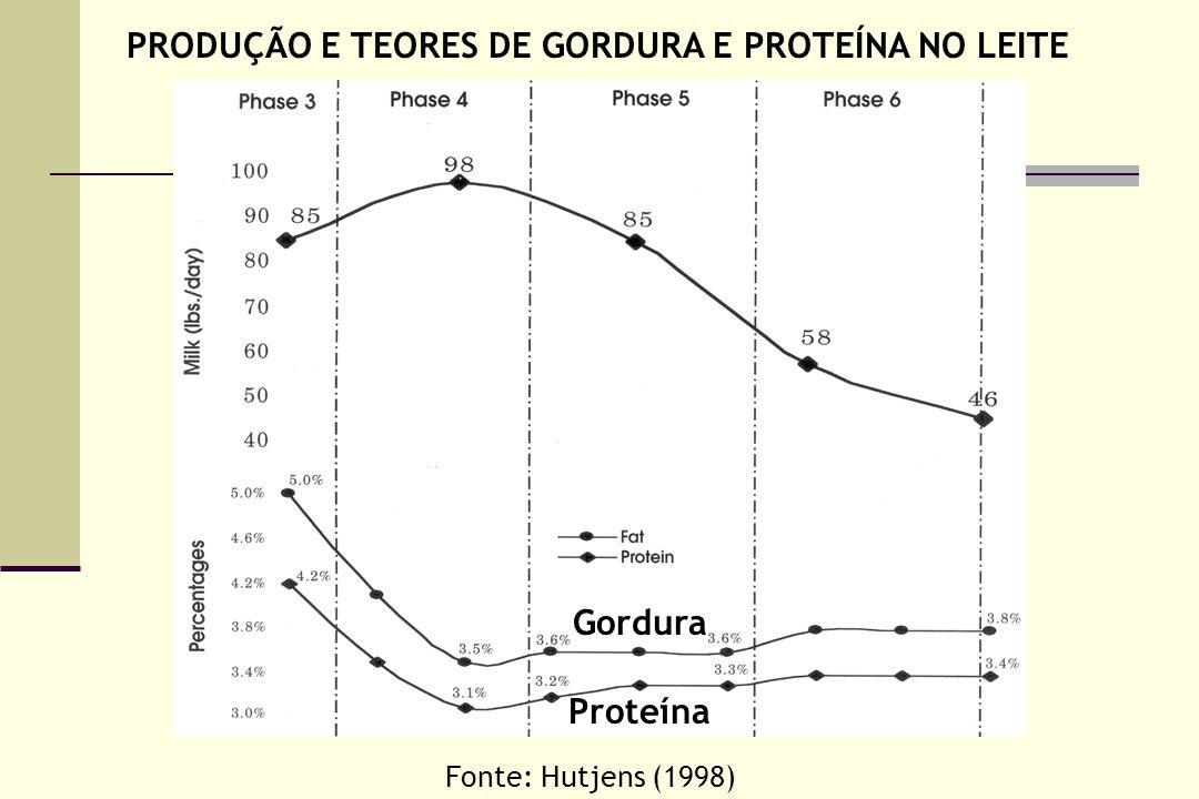 PRODUÇÃO E TEORES DE GORDURA E PROTEÍNA NO LEITE