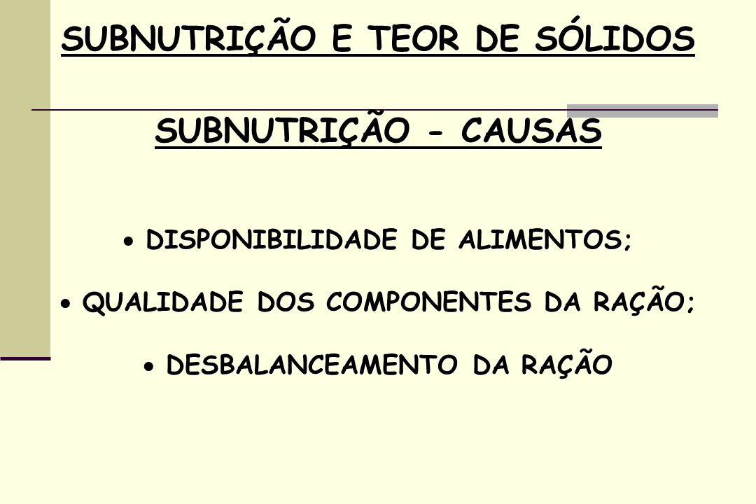 SUBNUTRIÇÃO E TEOR DE SÓLIDOS SUBNUTRIÇÃO - CAUSAS