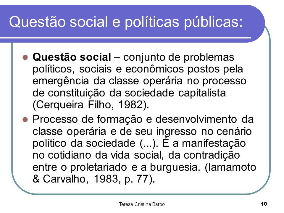 Questão social e políticas públicas: