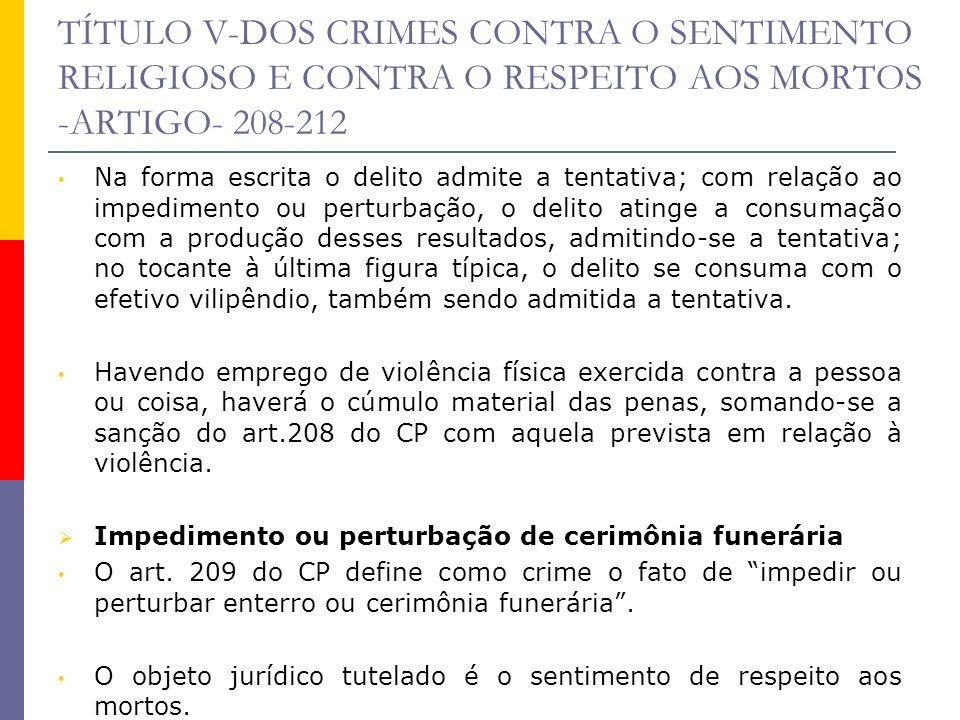 TÍTULO V-DOS CRIMES CONTRA O SENTIMENTO RELIGIOSO E CONTRA O RESPEITO AOS MORTOS -ARTIGO- 208-212