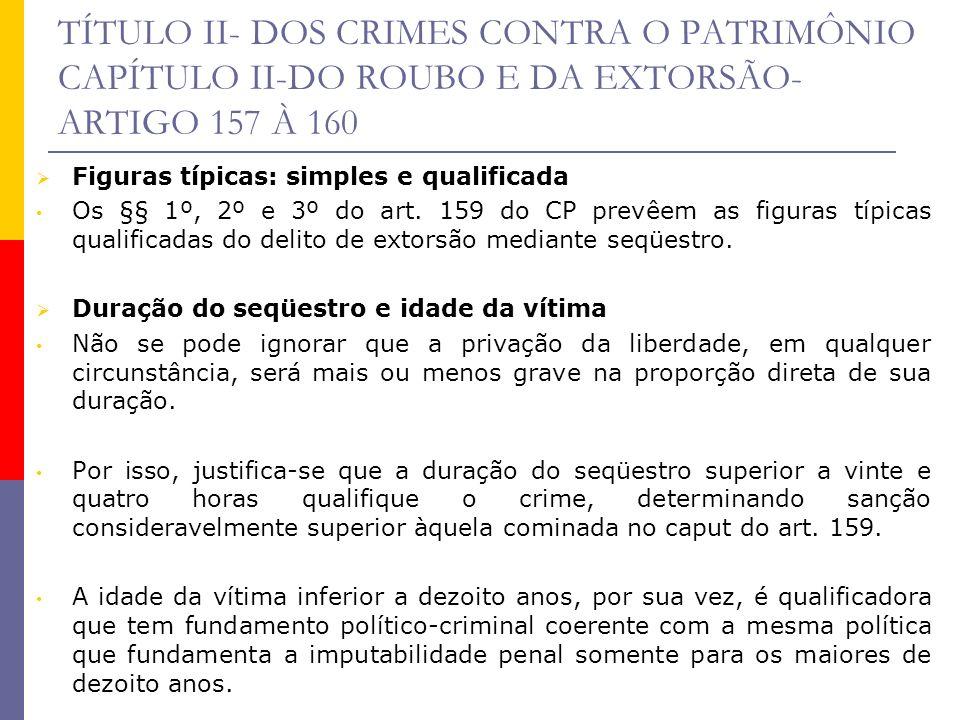 TÍTULO II- DOS CRIMES CONTRA O PATRIMÔNIO CAPÍTULO II-DO ROUBO E DA EXTORSÃO- ARTIGO 157 À 160