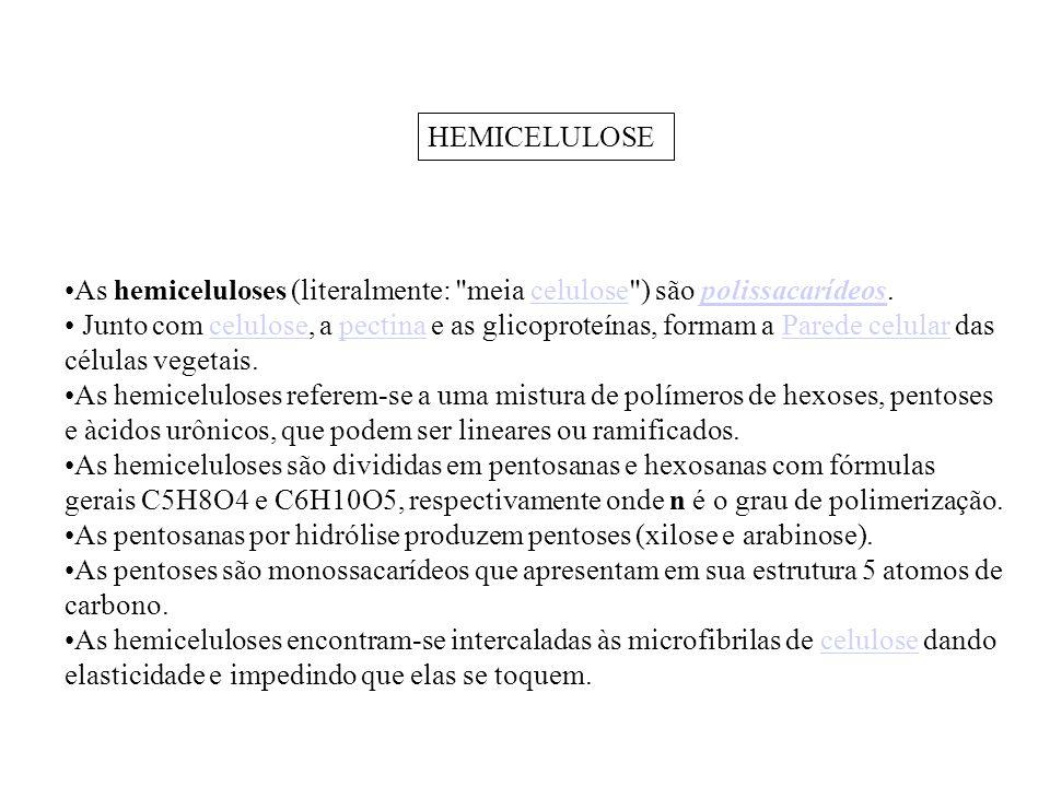 HEMICELULOSE As hemiceluloses (literalmente: meia celulose ) são polissacarídeos.