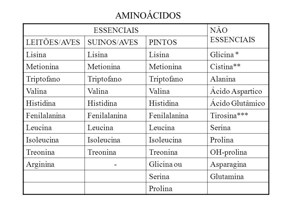 AMINOÁCIDOS ESSENCIAIS NÃO ESSENCIAIS LEITÕES/AVES SUINOS/AVES PINTOS