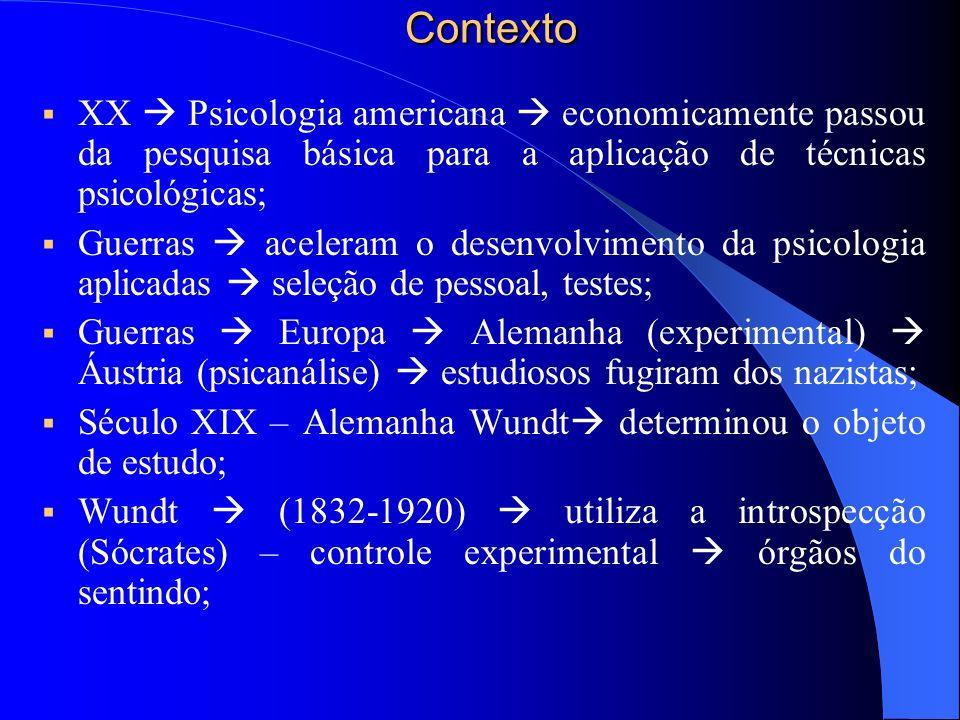 Contexto XX  Psicologia americana  economicamente passou da pesquisa básica para a aplicação de técnicas psicológicas;