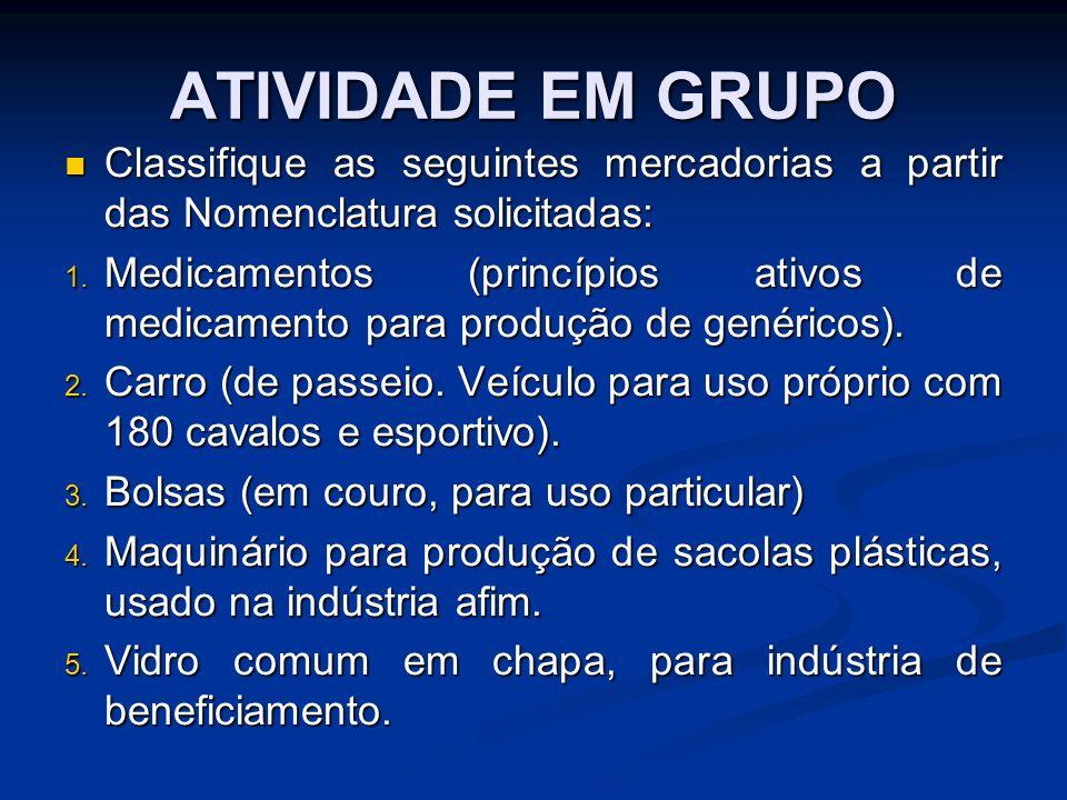 ATIVIDADE EM GRUPOClassifique as seguintes mercadorias a partir das Nomenclatura solicitadas: