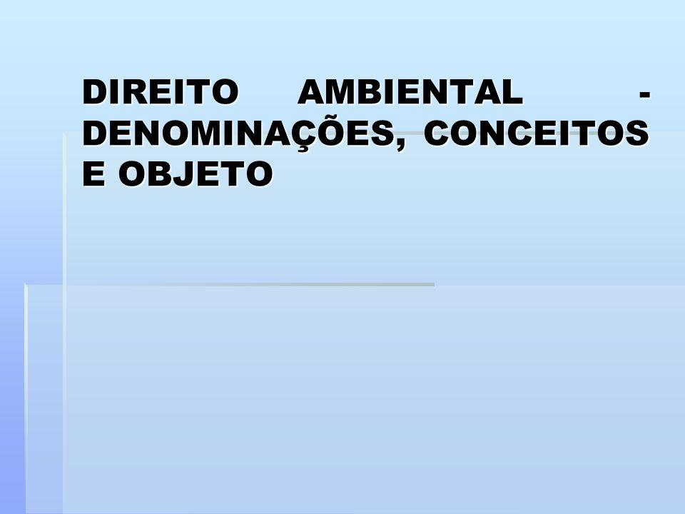 DIREITO AMBIENTAL - DENOMINAÇÕES, CONCEITOS E OBJETO