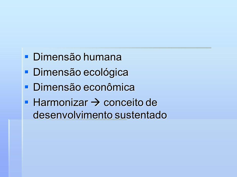 Dimensão humana Dimensão ecológica. Dimensão econômica.