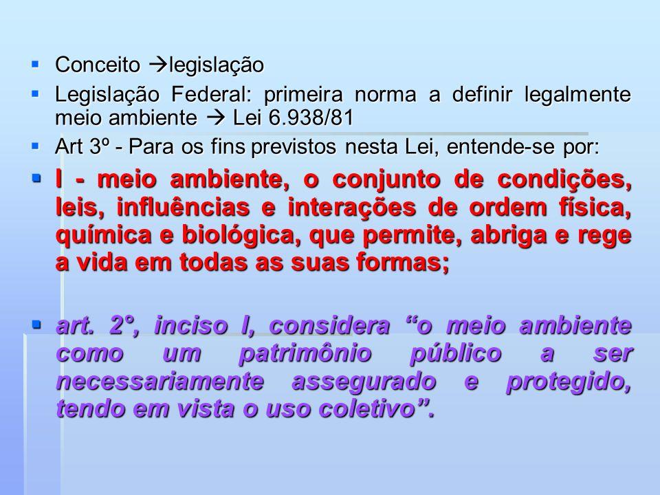 Conceito legislação Legislação Federal: primeira norma a definir legalmente meio ambiente  Lei 6.938/81.