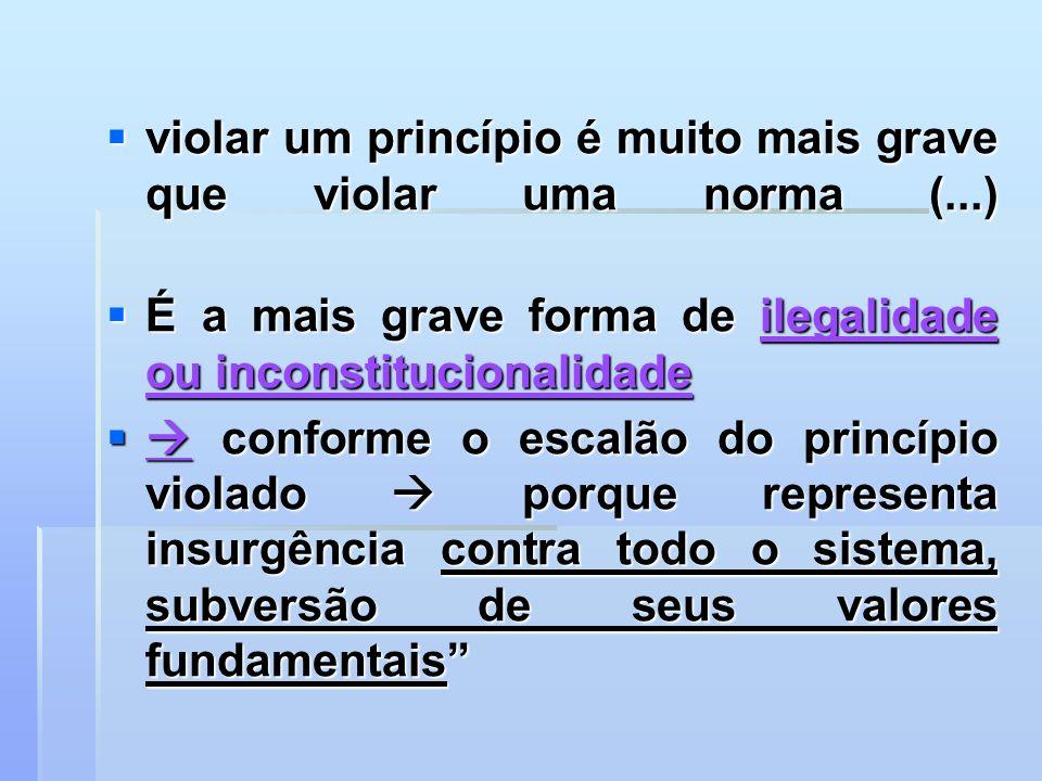 violar um princípio é muito mais grave que violar uma norma (...)