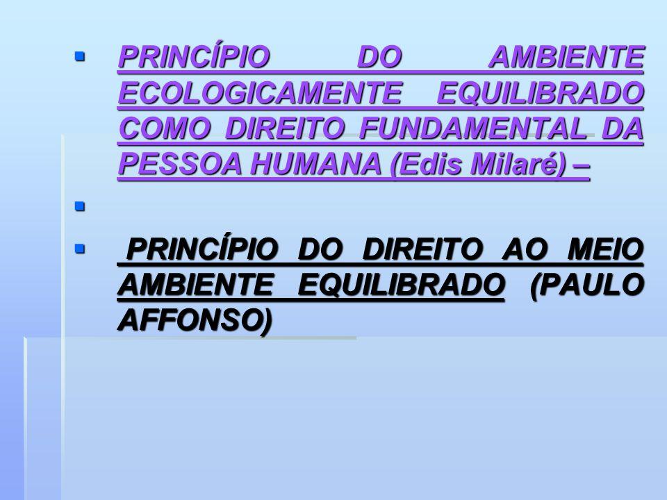 PRINCÍPIO DO AMBIENTE ECOLOGICAMENTE EQUILIBRADO COMO DIREITO FUNDAMENTAL DA PESSOA HUMANA (Edis Milaré) –