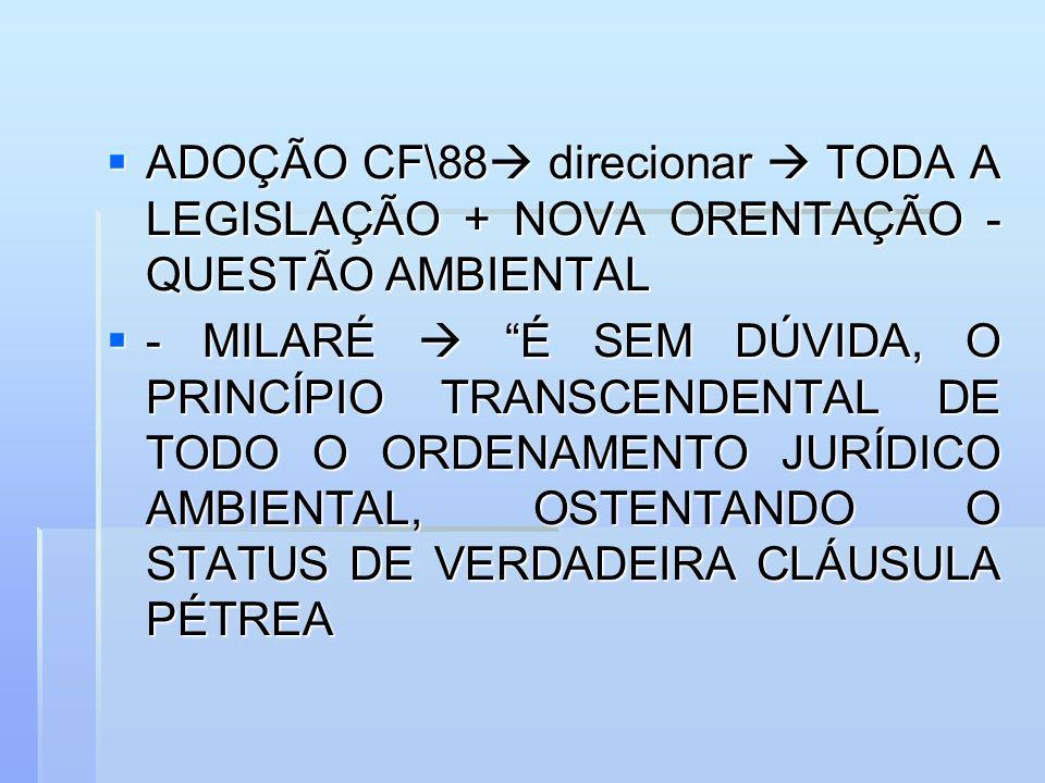 ADOÇÃO CF\88 direcionar  TODA A LEGISLAÇÃO + NOVA ORENTAÇÃO - QUESTÃO AMBIENTAL