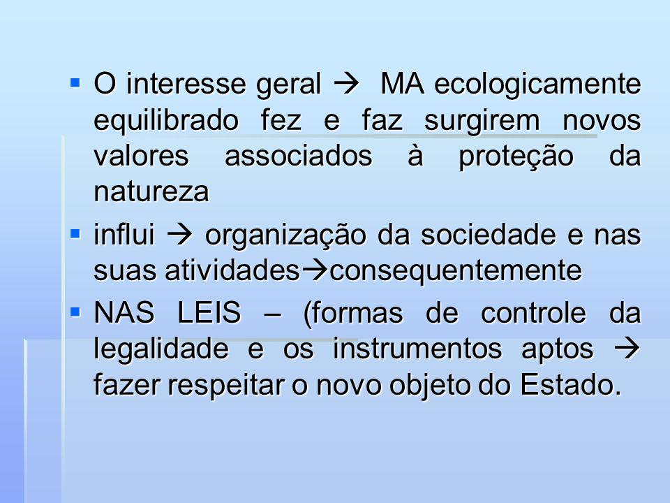 O interesse geral  MA ecologicamente equilibrado fez e faz surgirem novos valores associados à proteção da natureza
