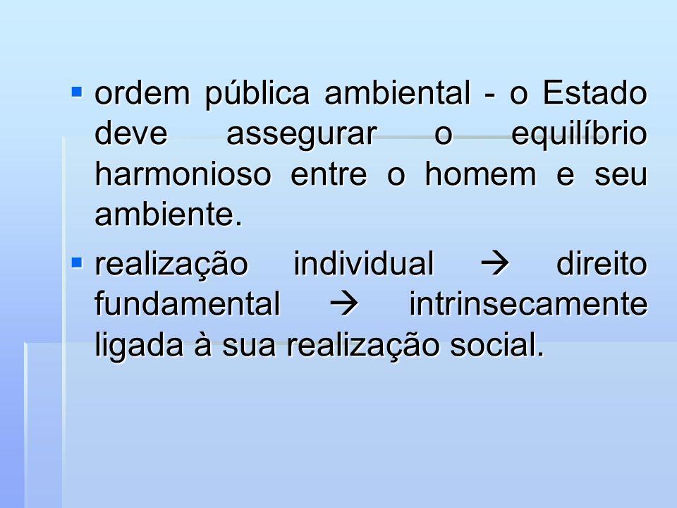 ordem pública ambiental - o Estado deve assegurar o equilíbrio harmonioso entre o homem e seu ambiente.