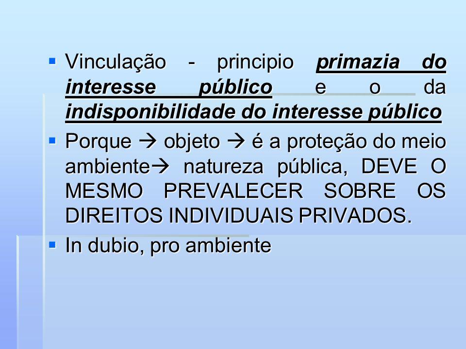 Vinculação - principio primazia do interesse público e o da indisponibilidade do interesse público