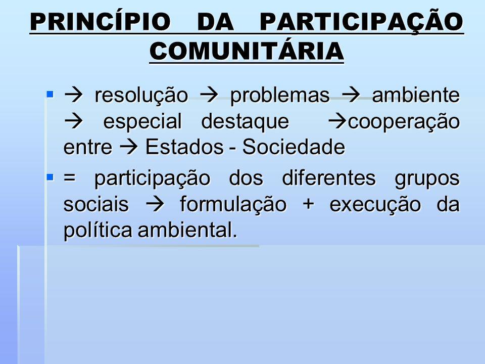 PRINCÍPIO DA PARTICIPAÇÃO COMUNITÁRIA