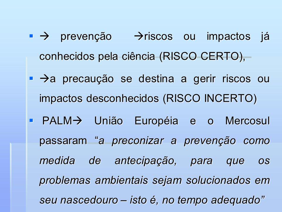  prevenção riscos ou impactos já conhecidos pela ciência (RISCO CERTO),