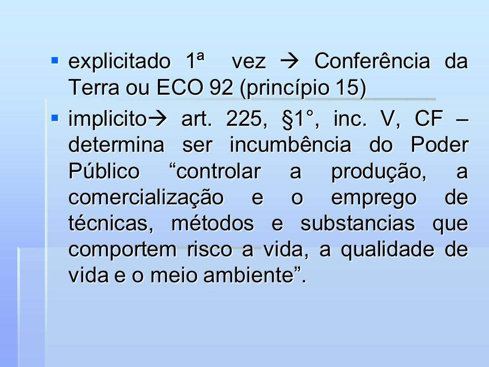 explicitado 1ª vez  Conferência da Terra ou ECO 92 (princípio 15)