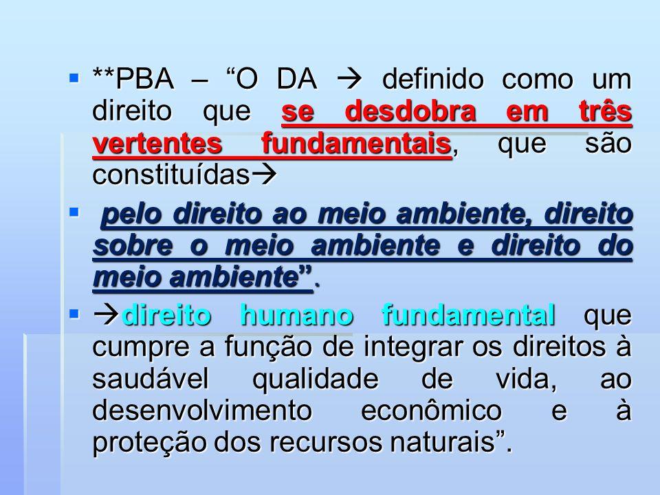 **PBA – O DA  definido como um direito que se desdobra em três vertentes fundamentais, que são constituídas