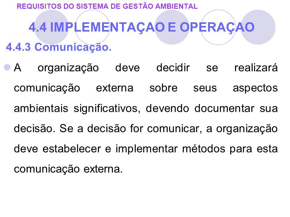 REQUISITOS DO SISTEMA DE GESTÃO AMBIENTAL 4.4 IMPLEMENTAÇAO E OPERAÇAO