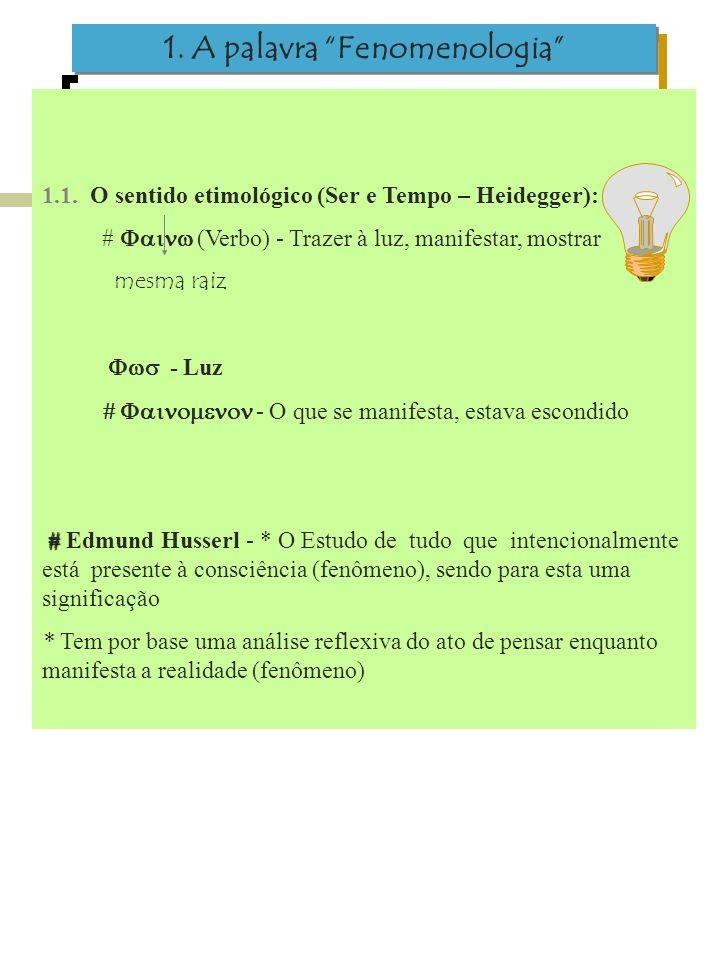 1. A palavra Fenomenologia