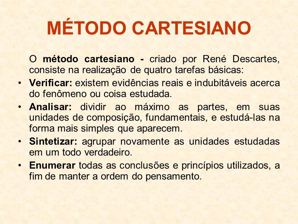 MÉTODO CARTESIANO O método cartesiano - criado por René Descartes, consiste na realização de quatro tarefas básicas: