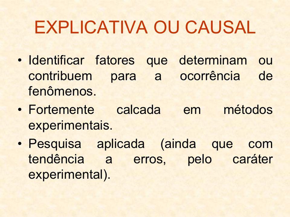 EXPLICATIVA OU CAUSAL Identificar fatores que determinam ou contribuem para a ocorrência de fenômenos.