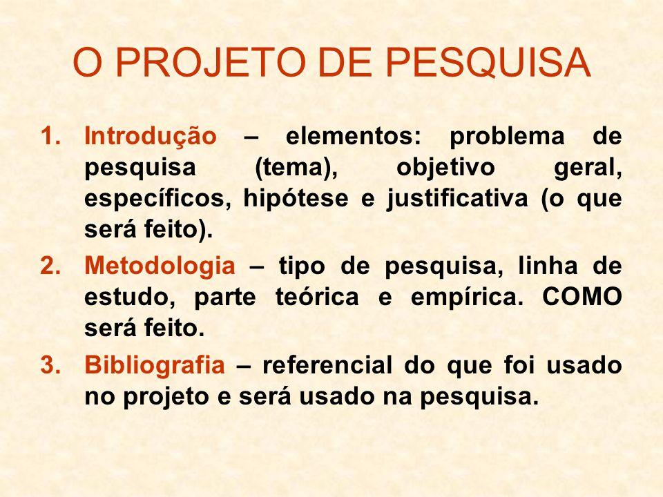 O PROJETO DE PESQUISA Introdução – elementos: problema de pesquisa (tema), objetivo geral, específicos, hipótese e justificativa (o que será feito).