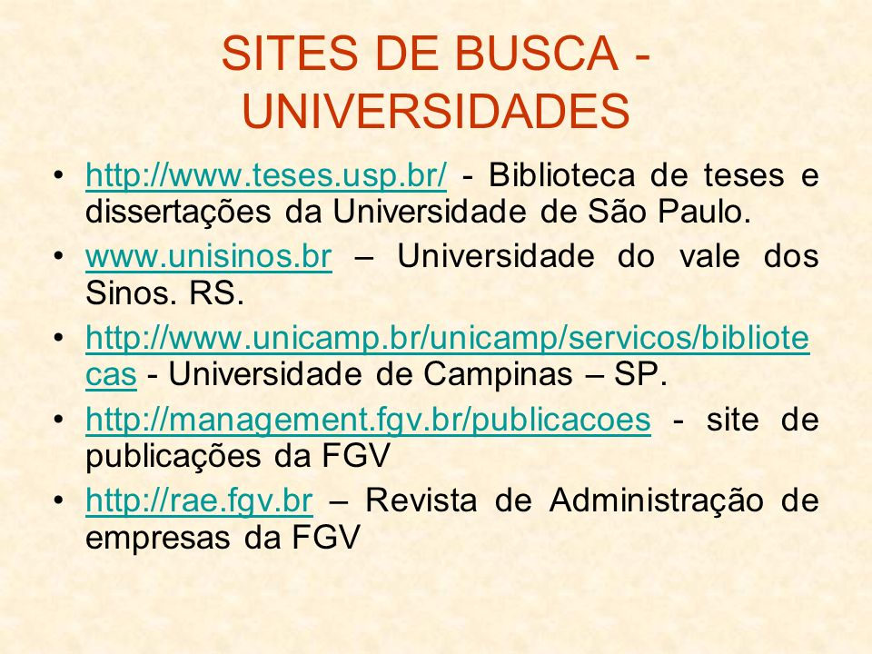 SITES DE BUSCA - UNIVERSIDADES